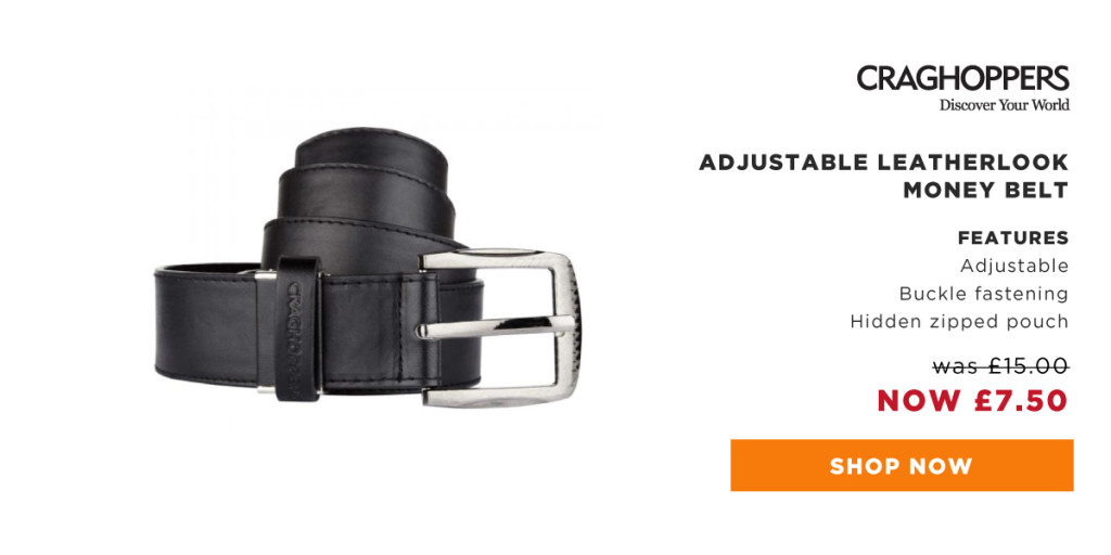 Keep cash and valuable safe with the Craghoppers adjustable leatherlook money belt