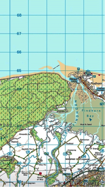Culbin to Findhorn map