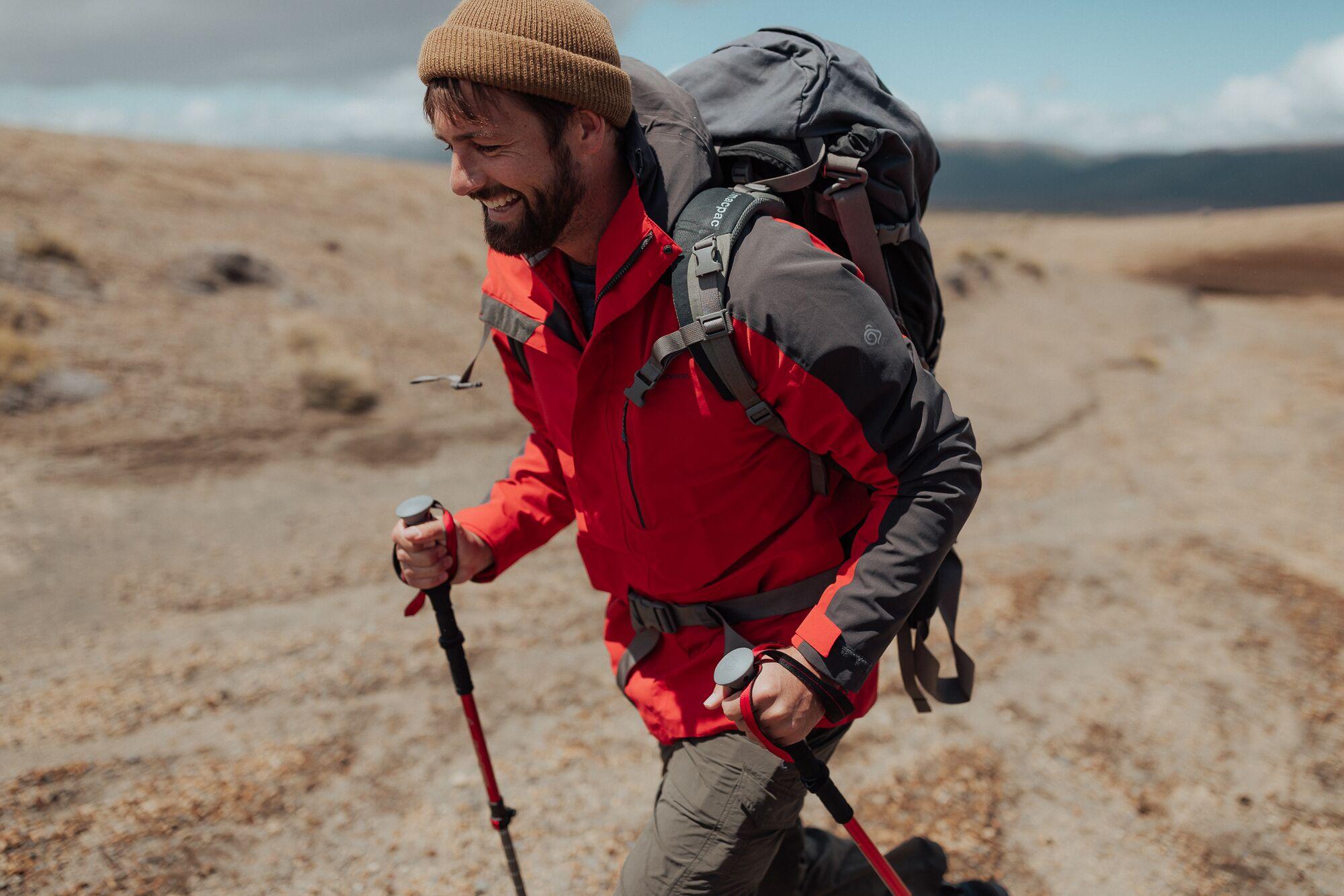 Hiker using walking poles